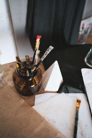 Colourful paintbrush closeup. Creative modern painting studio Archivio Fotografico
