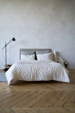Apartment. A cozy bed with pillows. daylight