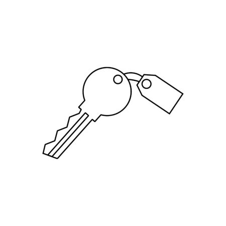 Key with tag outline icon isolated.