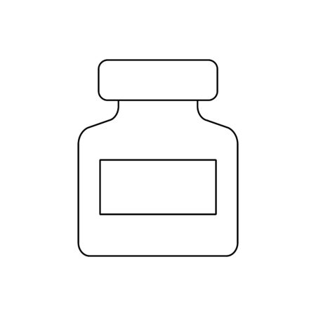 Jar of pills outline icon.