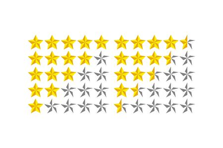 Star icon. Five stars customer product rating review. Rank rating stars feedback.
