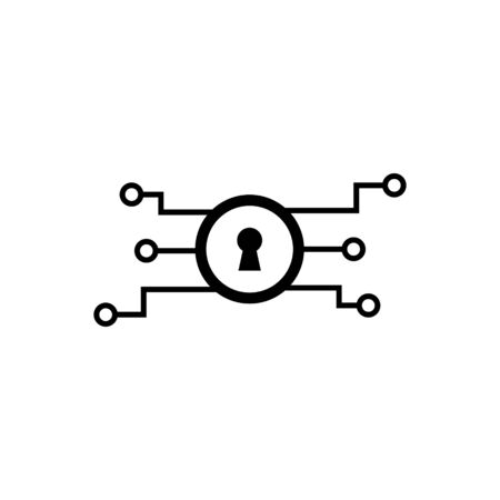 Encrypted key outline icon. Ilustrace