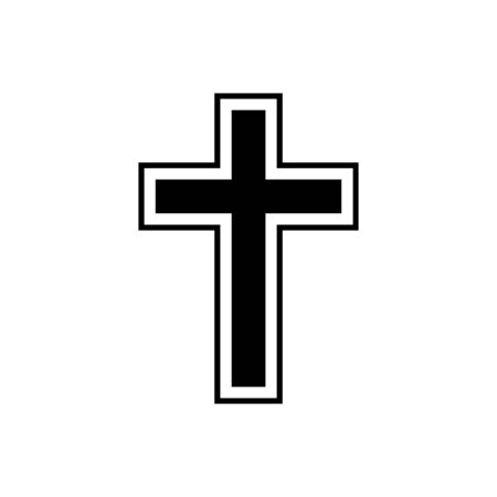 Christian cross outline icon isolated.