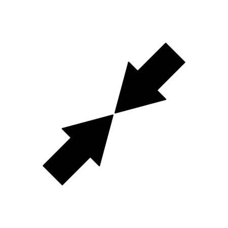 Arrow shrink outline icon isolated. Symbol, illustration for mobile concept and web design. Vecteurs