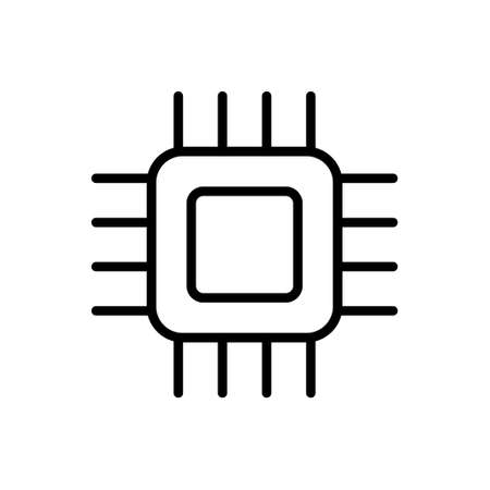 Micro chip outline icon isolated. Symbol, logo illustration for mobile concept, web design and games.
