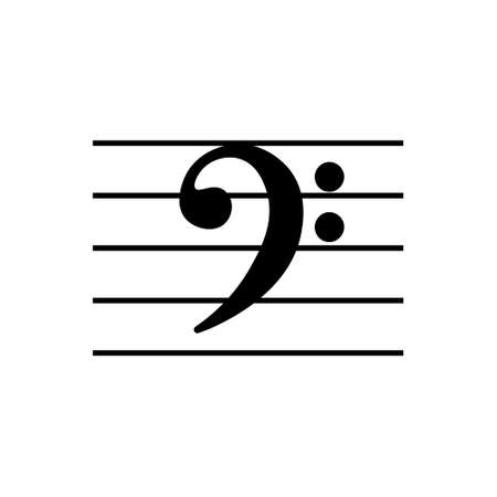 Bass clef outline icon. Symbol illustration for mobile concept and web design.