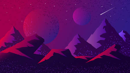 Space and planet background landscape silhouette template. Fantasy alien planets surface with mountains, sky, stars and comets in dark space. Science fiction vector cosmos illustration Vettoriali