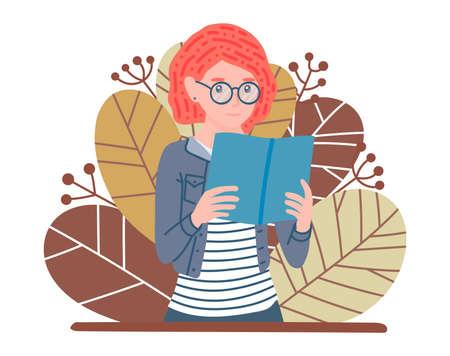 Femme de lecture. Étudiant étudiant et se préparant à l'examen. Fille rousse dans des verres avec livre. Fan de littérature. Feuilles d'automne sur fond. Illustration vectorielle de concept d'affiche dans un style plat de dessin animé. Vecteurs