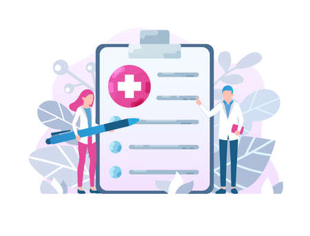 Healthcare medical form concept. Male and female doctors with medical prescription, clipboard. Health check up, application form vector illustration in cartoon flat style Vektorové ilustrace