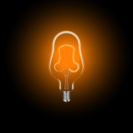 Electric light bulb in a realistic design with a plinth with illumination included.