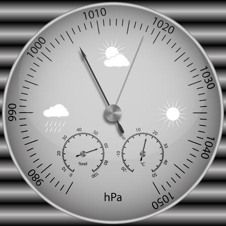 Barometer voor het bepalen van atmosferische druk, vectorillustratie. Stock Illustratie