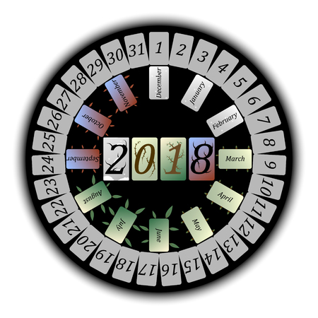 Vector round abstract calendar for 2018, depicting each month of the year in a seasonal frame