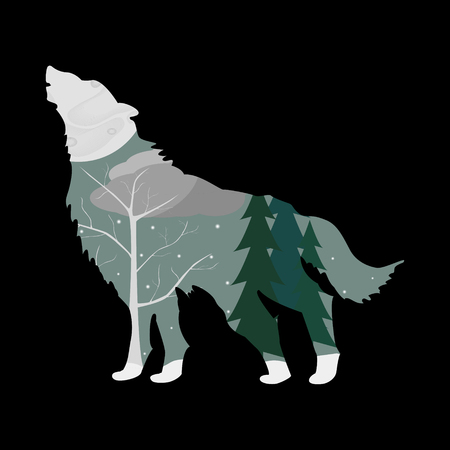 Winter forest in the outline of a wolf. Illustration