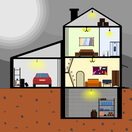 House with internal layout. Stok Fotoğraf - 95010580