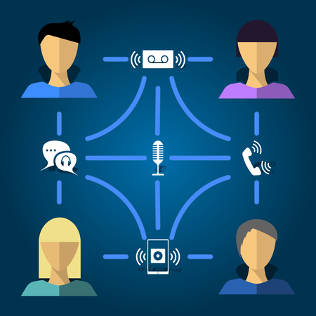 Vector illustration of the ways of transferring voice messages using the example of communication of four people with the help of technological message transmission. Pattern, flat, infographics.