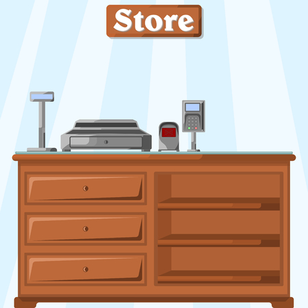 Vector illustration of a counter in the store from the cashier's side with a cash register.