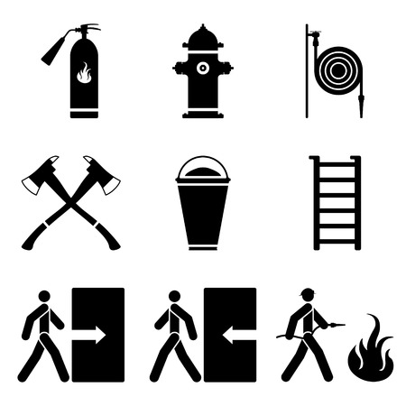 Fire extinguisher, fire hydrant, fire hose, ax, sand, ladder black icon illustrations. 일러스트