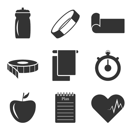 Vector image of the icons of things that you need to have in your bag when practicing and fitness Illustration