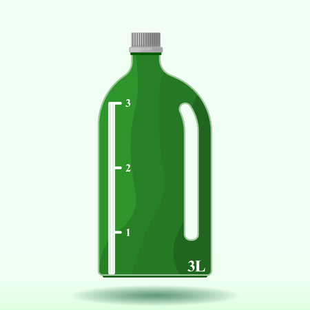 Vector image of a plastic bottle with a measuring scale of three liters. Pattern with a shadow from a bottle.
