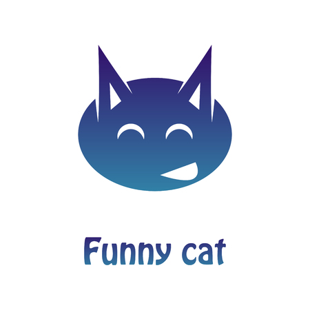 Vector image of a multi-colored logotype of a merry cat. Flat Pattern.