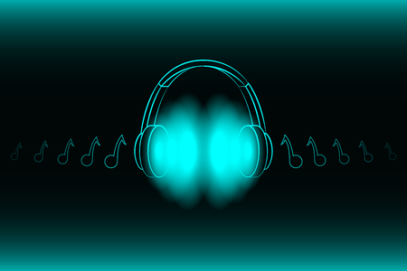 Bright glowing neon headphones isolated on blue background, music concept. Banner. Low poly illustration.  イラスト・ベクター素材