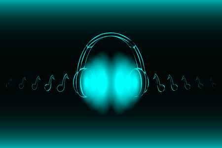 Bright glowing neon headphones isolated on blue background, music concept. Banner. Low poly illustration.Modified form.
