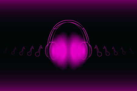 Bright glowing neon headphones isolated on pink background, music concept. Banner. Low poly illustration