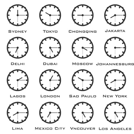 A minimalistic image of the clock with the time difference of the world capitals. Vector. Illustration