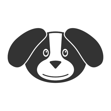 Vector image of a cartoon dog on a white background. Contour illustration for logo or icon.