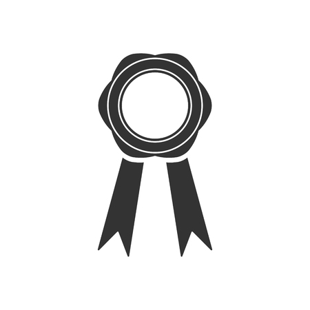 Badge of medal with ribbons in a flat design, free and easy to edit. Vector.