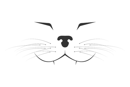 Minimalistic happy cat muzzle. Vector cartoon illustration.