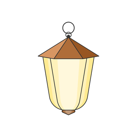 Suspended street lamp. Easy to edit and change color. Isolated vector. Illustration on white background. Çizim