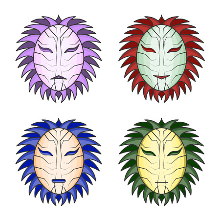 Vector image of multicolored masks. A simple, editable black outline on a white background