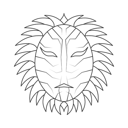 Vector mask image in a simple, editable black outline on a white background