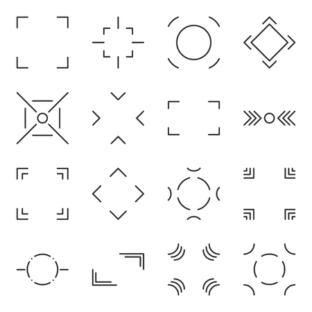 Icons capture target and select used in digital cameras. Vector image on white, isolated background