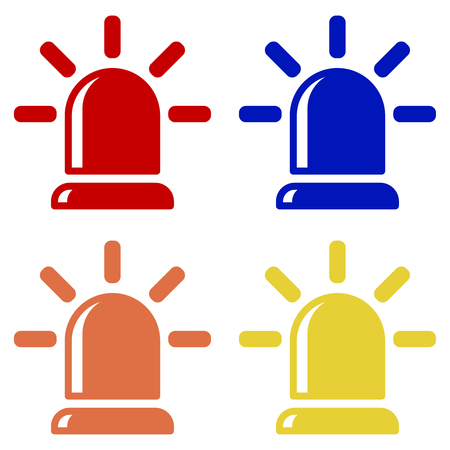 Flasher icons, alarm siren in red, blue, orange and yellow isolated vector on white background.