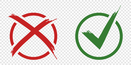 Acceptance and rejection symbol vector buttons for vote, election choice.