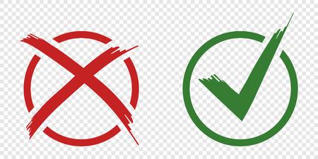 Boutons de vecteur de symbole d'acceptation et de rejet pour le vote, choix des élections.