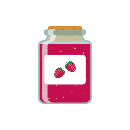 Drawing jars with strawberry jam. Vector illustration on white background.