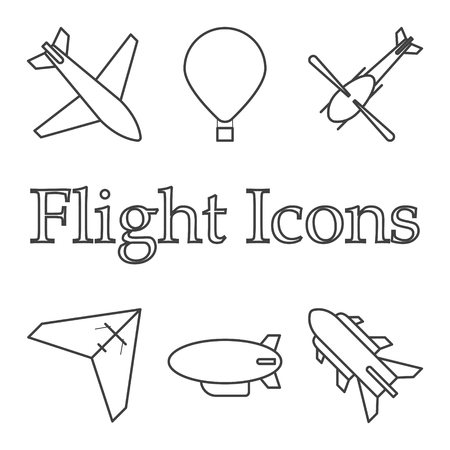 Icons of air vehicles. Vector on white background.