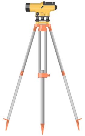 Construction level on tripod, vector illustration, isolated on white background.