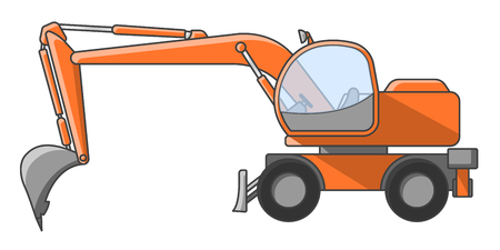 Construction excavator on a white background vector illustration, isolated.