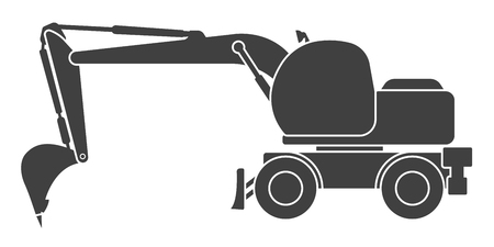 Icon of a construction excavator on a white background vector illustration, isolated.