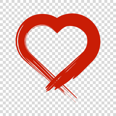 Image of the heart inflicted with a brush vector colored icon on white background.