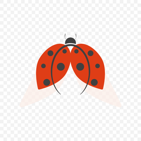 The logo of ladybug, isolated on a transparent background with translucent wings. Vector illustration.