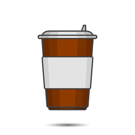 Figure paper cup for coffee with a plastic lid and place under any inscription. Vector illustration on white background  イラスト・ベクター素材