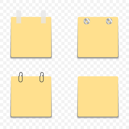 Yellow stickers with different mounting options for surfaces - self-adhesive, clerical buttons, clips and tape. Blank template for design. Vector on a transparent background