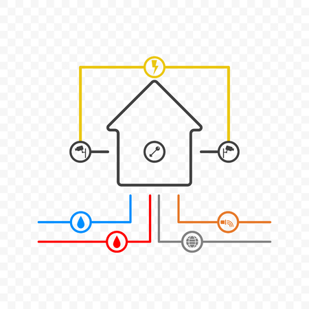 A minimalistic illustration of a house with communications connected to it and a security system. Vector on a transparent background.