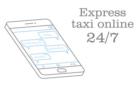 Express taxi online. Vector illustration of a chat in the application with the operator. Design for an online application or advertising poster