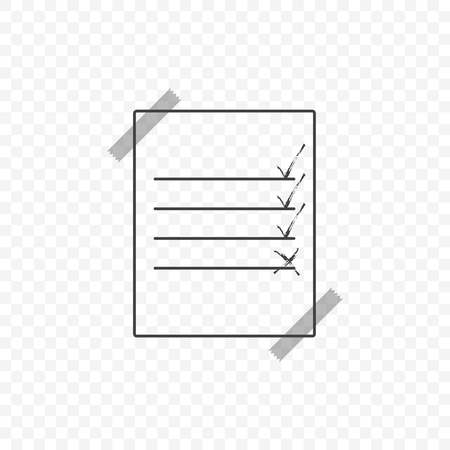 Sheet glued transparent tape with a list of completed and unfinished business. Vector icon on a transparent background